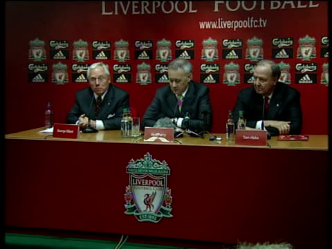 Liverpool FC agree takeover bid by American businessmen George Gillett Tom Hicks and Rick Parry photocall and press conference Close up Liverpool pin...