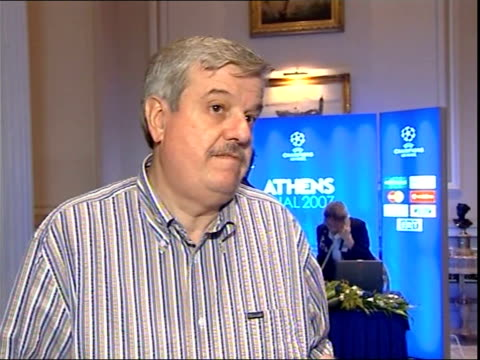 liverpool fc fans blamed for crowd trouble at champions league final location unknown int william gaillard interview sot - uefa champions league stock videos and b-roll footage
