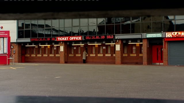 general views of anfield stadium england merseyside liverpool ext general views of anfield stadium including the kop stand ticket offices ticker tape... - liverpool england stock-videos und b-roll-filmmaterial