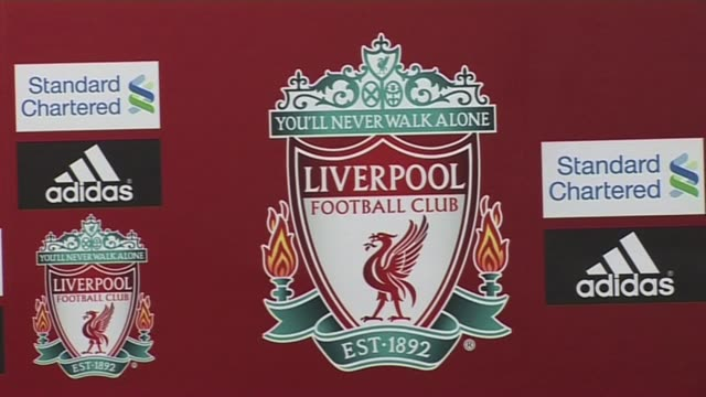 liverpool fc press conference crest cutaway at anfield on october 05, 2011 in liverpool, england - cutaway video transition stock videos & royalty-free footage