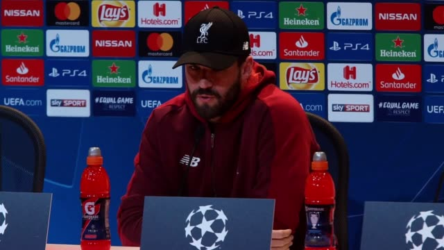 Liverpool goalkeeper Alisson Becker press conference ahead of his side's Champions League game against Bayern Munich