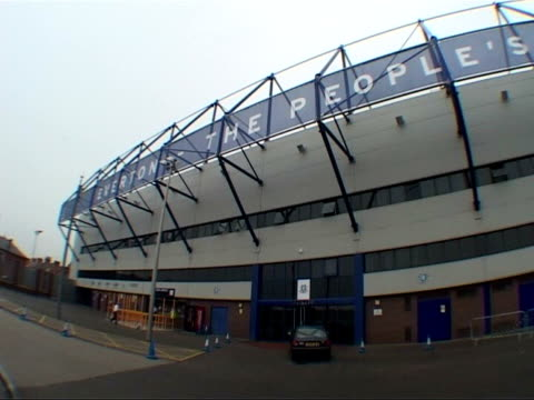 Liverpool Goodison Park Fisheye lens view of stands at the home of Everton football club inside and outside the ground CMS Everton Director Paul...