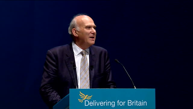liverpool: int vince cable mp speech at lib dem conference sot - i am told i look miserable / i'm sorry conference but this is my happy face cable at... - vince cable stock videos & royalty-free footage