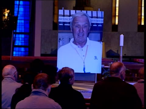 liverpool liverpool metropolitan cathedral congregation gathered for prayers for kenneth bigley giant photograph of bigley on altar side congregation... - merseyside stock videos and b-roll footage