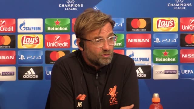 Liverpool manager Jurgen Klopp gives a prematch press conference ahead of the Champions League game against Sevilla