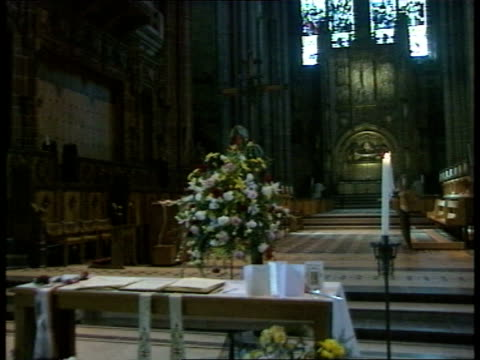 liverpool memorial service row **** for england liverpool view of anglican cathedral interior of cathedral altar interview keva coombes leader... - memorial event stock videos and b-roll footage