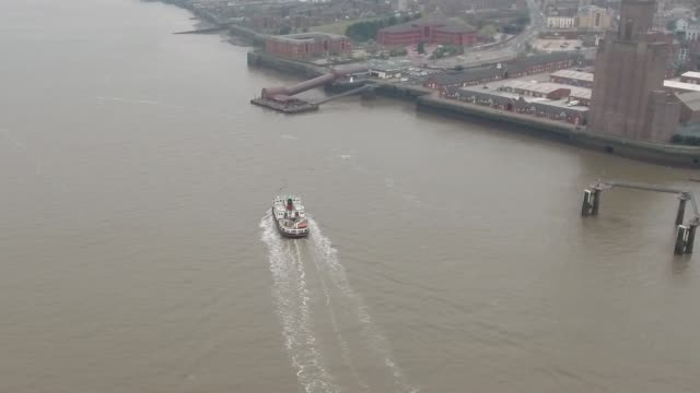 liverpool mersey ferry following aerial video - mersey ferry stock videos & royalty-free footage