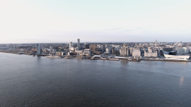 liverpool mersey waterfront aerial video slow pan right - merseyside stock videos & royalty-free footage