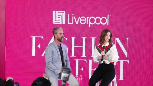 Liverpool Public Relations director Ignacio Aguiriano and model Barbara Palvin attend a press conference during the Liverpool Fashion Fest...