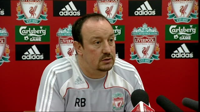 rafa benitez press conference england liverpool melwood int rafa benitez press conference sot thinks robbie keane is very good player but did not... - tottenham hotspur f.c stock videos & royalty-free footage