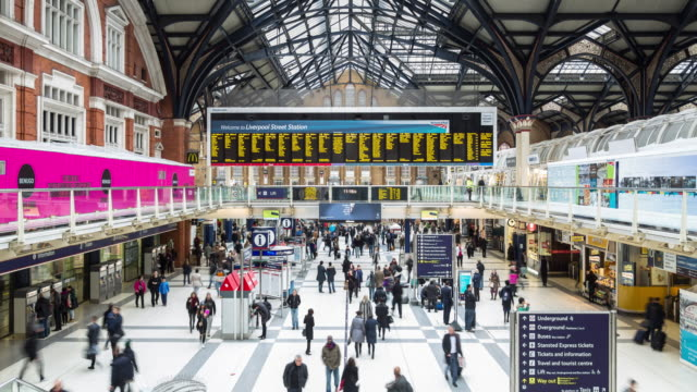 liverpool street station - timelapse - station stock videos & royalty-free footage