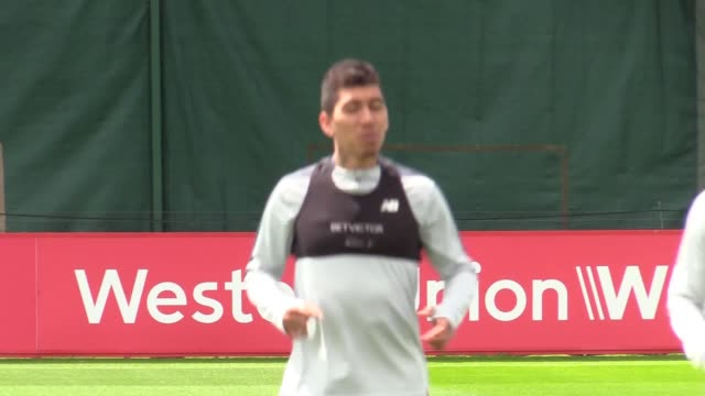 Liverpool train at Melwood four days ahead of their Champions League final against Tottenham in Madrid Includes shots of Mohamed Salah Roberto...