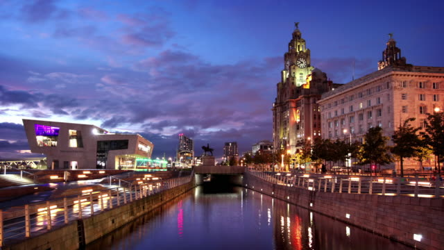 liverpool waterfront at dusk, england, uk - liverpool england stock videos & royalty-free footage