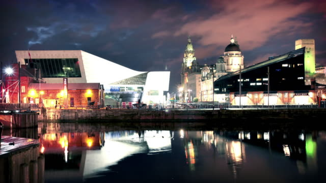liverpool waterfront at night, england, uk - liverpool england stock videos & royalty-free footage