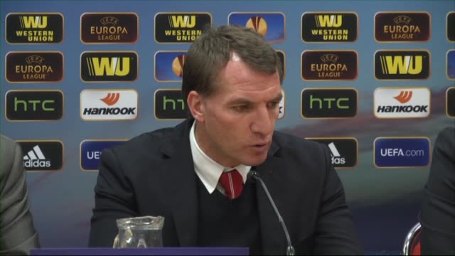 liverpool's head coach brendan rodgers and besiktas jk's head coach slaven bilic attend a press conference after the uefa europa league round of 32... - besiktas stock videos and b-roll footage