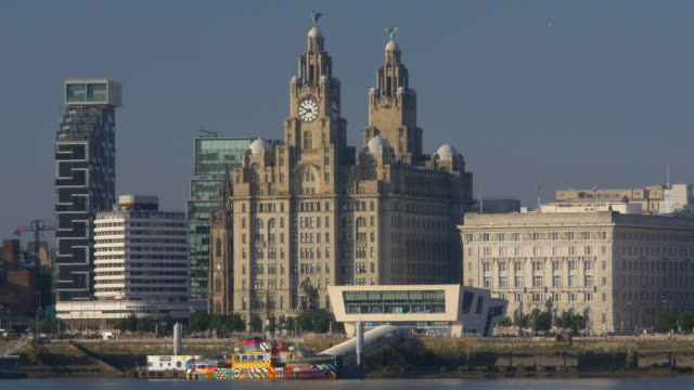 liverpool's historic waterfront and mersey ferry. royal liver building. - mersey ferry stock videos & royalty-free footage