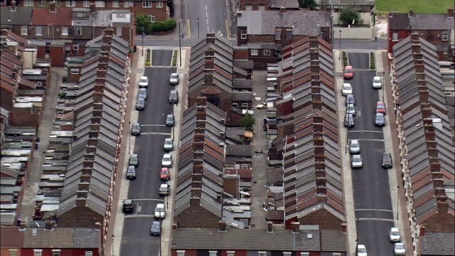 liverpool's old terraced housing  - aerial view - england,  liverpool,  helicopter filming,  aerial video,  cineflex,  establishing shot,  united kingdom - liverpool england stock videos & royalty-free footage