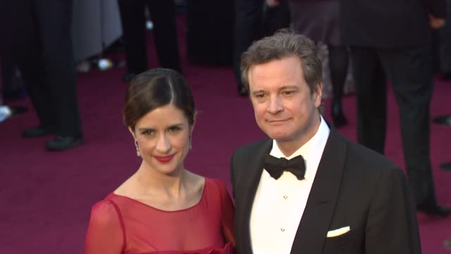 livia giuggiol and colin firth at 84th annual academy awards arrivals on 2/26/12 in hollywood ca - neckwear stock videos and b-roll footage