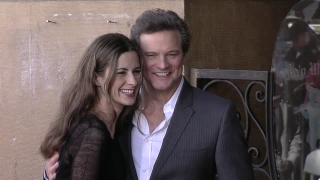 vídeos de stock, filmes e b-roll de livia giuggioli and colin firth at the colin firth honored with a star on the hollywood walk of fame at hollywood ca - colin firth