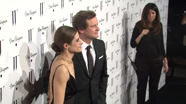 vídeos de stock, filmes e b-roll de livia giuggioli and colin firth at the w magazine celebrates the best performances issue and the golden globe awards at los angeles ca - colin firth