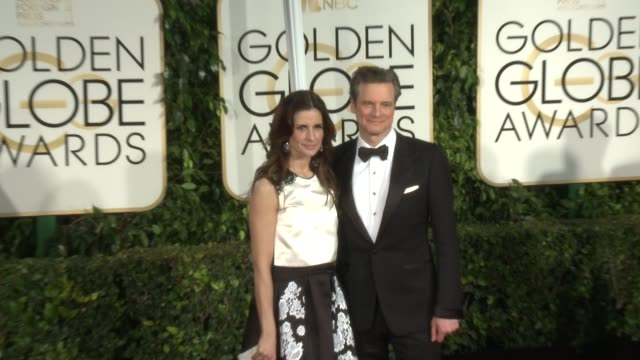 vídeos de stock, filmes e b-roll de livia giuggioli colin firth at 72nd annual golden globe awards arrivals at the beverly hilton hotel on january 11 2015 in beverly hills california - colin firth