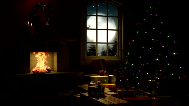 living room at christmas eve - stockings stock videos & royalty-free footage