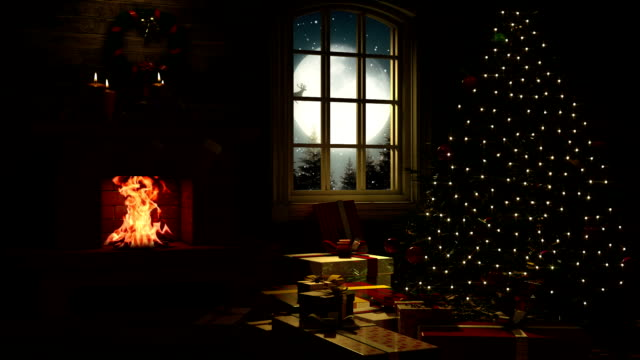 living room at christmas eve - christmas stock videos & royalty-free footage