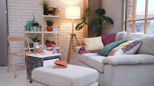 living room interior design - comfortable stock videos & royalty-free footage