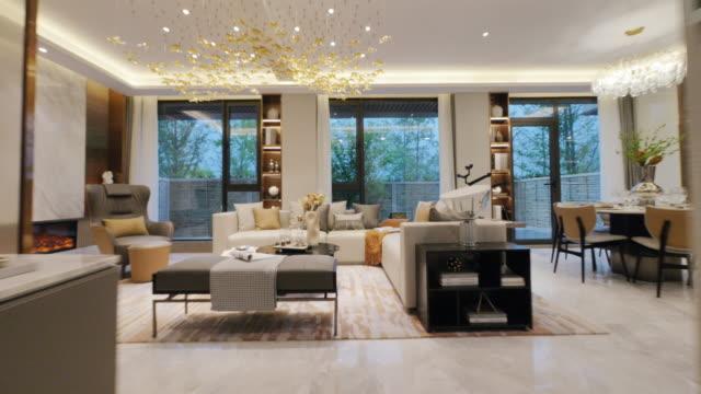 living room interior - dining room stock videos & royalty-free footage