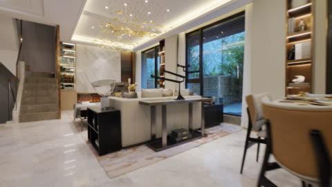 living room interior - modern stock videos & royalty-free footage