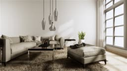 Living room modern style with white wall on wooden floor and sofa armchair on carpet.3D rendering