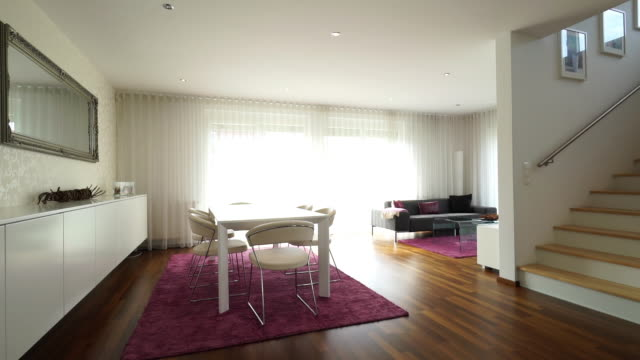 living room of new apartment - speisezimmer stock-videos und b-roll-filmmaterial