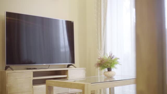 ミニマリストの家具付きのリビングルーム - 観葉植物点の映像素材/bロール
