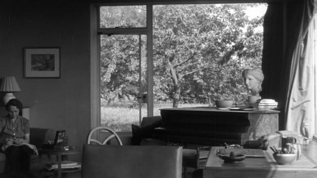 1946 pan living room with walls of windows overlooking the yard / united kingdom - viewpoint stock videos and b-roll footage