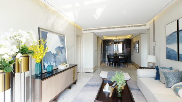 livingroom interior - home showcase interior stock videos & royalty-free footage