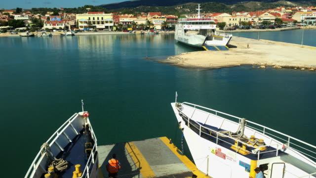 lixouri harbour on the greek island of kefalonia - heckklappe teil eines fahrzeugs stock-videos und b-roll-filmmaterial