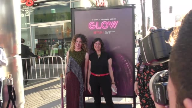 liz flahive carly mensch at a netflix original series glow los angeles premiere at arclight cinemas cinerama dome on june 21 2017 in hollywood... - cinerama dome hollywood stock videos and b-roll footage