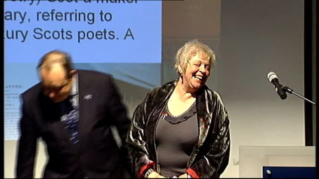 liz lochhead appointed scotland's new national poet; scotland: edinburgh: int liz lochhead along to stage to applause and embracing scottish first... - poet stock videos & royalty-free footage