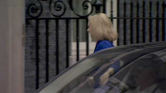 """liz truss arriving at 10 downing street for cabinet reshuffle where she was promoted from international trade secretary to foreign secretary - """"bbc news"""" stock videos & royalty-free footage"""