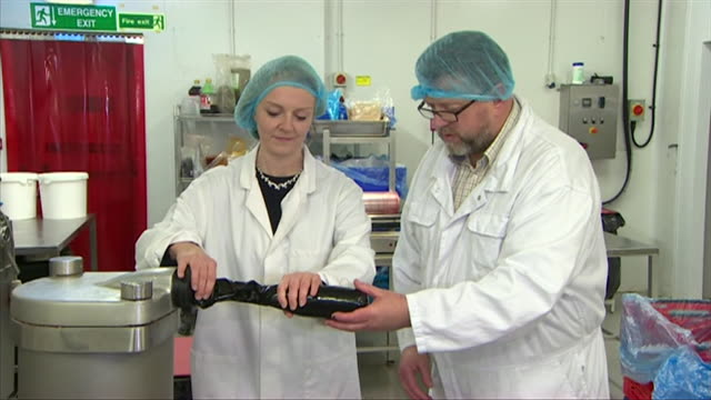 liz truss chief secretary to the treasury makes a black pudding on visit to butchers - hair care stock videos & royalty-free footage