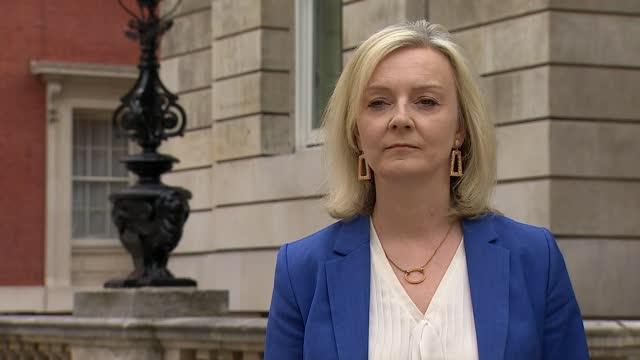 liz truss interview; england: london: westminster: ext liz truss mp interview sot . q: on deal - first post-brexit trade deal - worth 14 billion... - gate stock videos & royalty-free footage