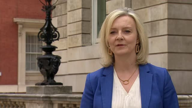liz truss interview; england: london: westminster: liz truss mp interview sot . q: on importing meat with lower welfare standards - australia rated... - partnership stock videos & royalty-free footage