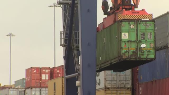 liz truss on a visit to teesport - docks stock videos & royalty-free footage