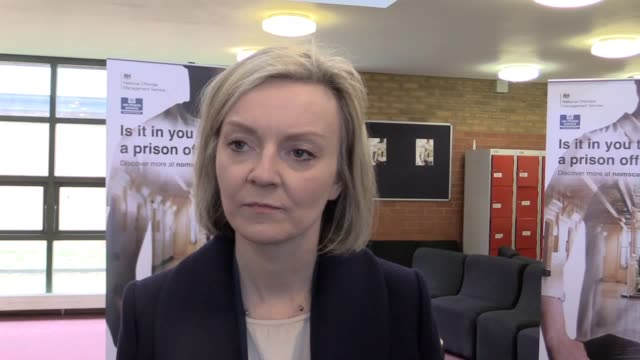 liz truss speaking on a visit to hmp whitemoor near march cambridgeshire as part of a nationwide tour of prisons to hear concerns from frontline... - whitemoor prison stock videos and b-roll footage