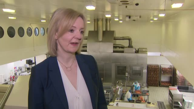 liz truss visits h forman son smoked salmon factory england london bow h forman son int liz truss mp interview sot [re allegations of bullying by... - home secretary stock videos & royalty-free footage