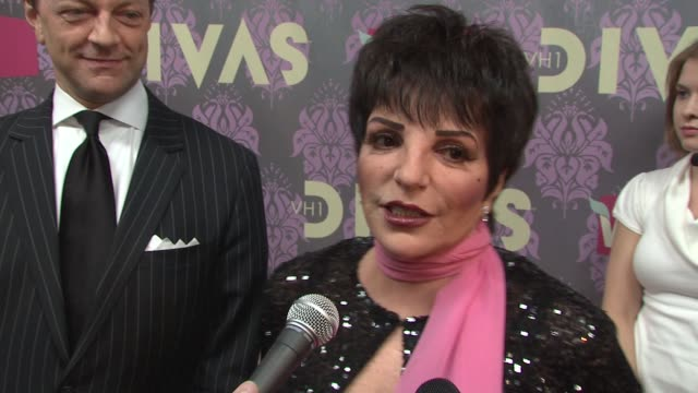 liza minnelli talking about what she'll be performing and the new generation of divas at the 2009 vh1 divas red carpet at new york ny - vh1 divas stock videos and b-roll footage