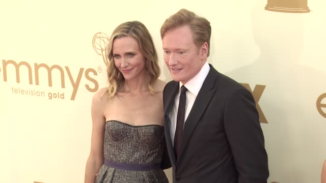 liza powell and conan o'brien at the 63rd primetime emmy awards arrivals part 2 at los angeles ca - conan o'brien stock videos and b-roll footage