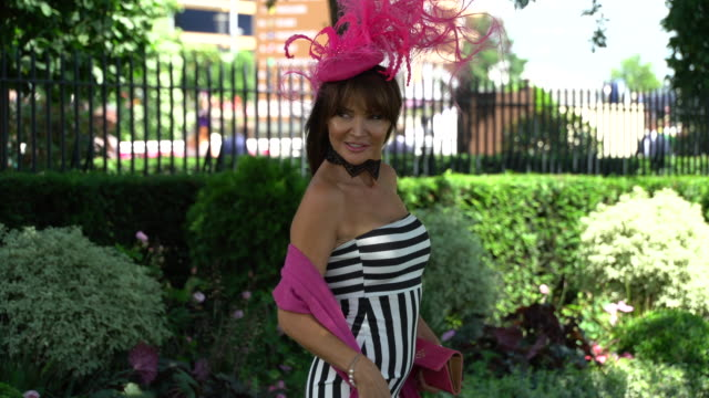 lizzie cundy at ascot racecourse on june 21 2018 in ascot england - milliner stock videos and b-roll footage