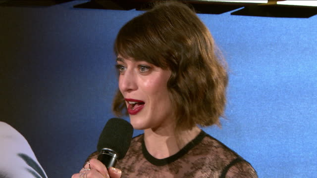 interview lizzy caplan on being in london working with robert zemeckis the war time spirit during the war life on set at 'allied' uk film premiere at... - robert zemeckis stock videos and b-roll footage