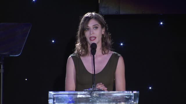 SPEECH Lizzy Caplan presents her honoree at 4th Annual Reel Stories Real Lives Benefiting The Motion Picture Television Fund at Milk Studios on April...